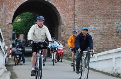 Cycling around Citadel - Hue 1999