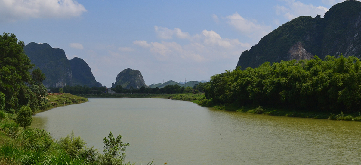 Limestone range on Ho Chi Minh Trail from Hanoi to CucPhuong national park