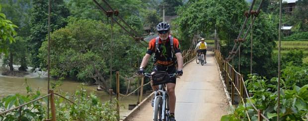 Suspension bridge to village in Niem Son