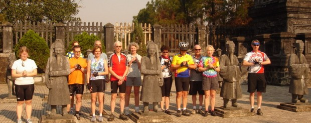 Bike group at KhaiDinh tomb - Cycling Hue to Hoian