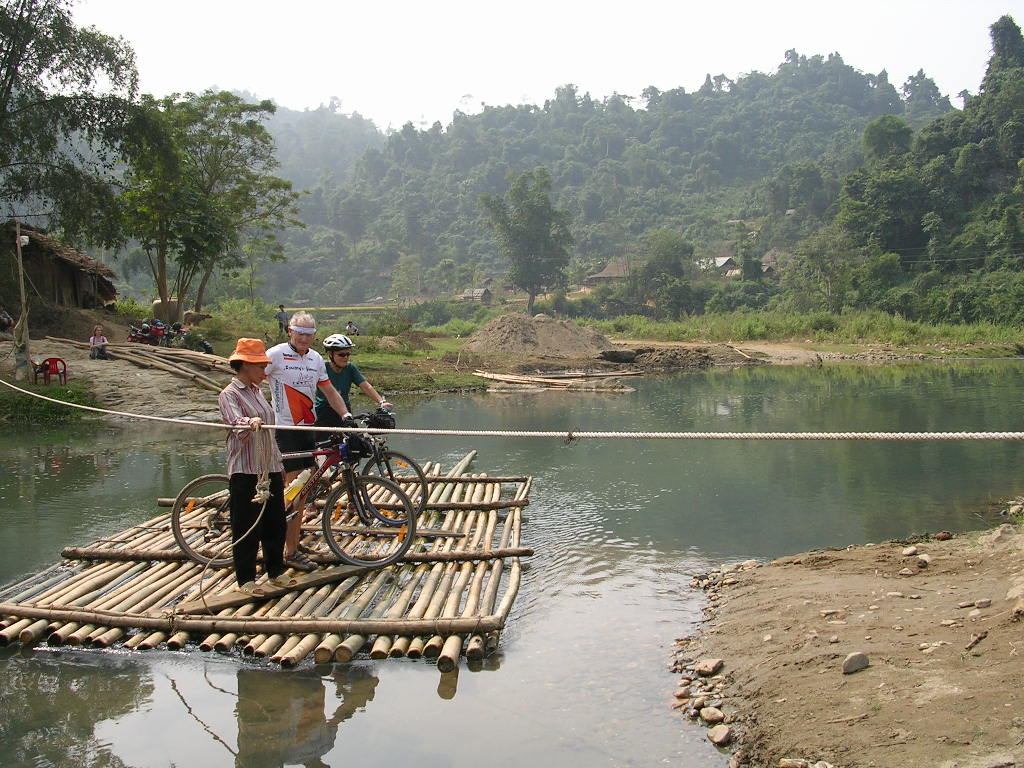Bamboo ferry between YenHoa and ThuanNong, ThuongGiap commune - HaGiang province.